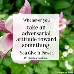 """""""Whenever you take an adversarial attitude toward something, you give it power."""" ~ Dr. Christiane Northrup Fear + New Life Lessons"""