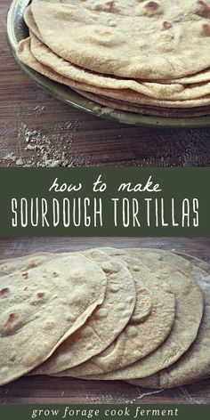 If you have sourdough starter you should make sourdough tortillas! These homemade flour tortillas are free from hydrogenated oils, full of healthy probiotics, and they taste awesome! Mexican Food Recipes, Real Food Recipes, Dessert Recipes, Cooking Recipes, Party Desserts, Cooking Tips, Sourdough Starter Discard Recipe, Sourdough Bread, Sourdough Cornbread Recipe