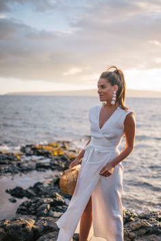 Gal Meets Glam White Linen Maxi Dress - Reformation dress, Rebecca de Ravenel earrings & Cult Gaia bag