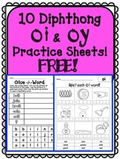 Diphthongs FREE 10 Practice Sheets For oi and oy Diphthongs Phonics Words, Phonics Worksheets, Spelling Words, Phonics Activities, Kindergarten Phonics, Preschool, First Grade Phonics, 1st Grade Writing, First Grade Reading
