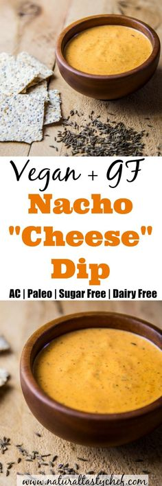 Vegan Nacho Cheese Dip that's plant based and so delicious! perfect as a dip for chips or crackers or also as a cheesy sauce over noodles. Paleo, gluten-free, Anti-Candida, dairy-free and sugar-free. Vegan Cheese Recipes, Vegan Sauces, Delicious Vegan Recipes, Paleo Vegan, Vegetarian Recipes, Vegetarian Lunch, Vegan Foods, Vegan Meals, Healthy Recipes