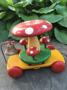 Vintage BRIO Mushroom Carousel Merry Go Round Wooden Pull Toy Made in Sweden | eBay