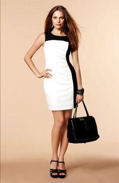 Calvin Klein Dress, Sleeveless Faux-Leather-Trim Sheath - Calvin ...