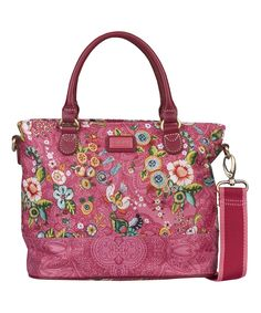 Pink French Flowers Square Crossbody Bag