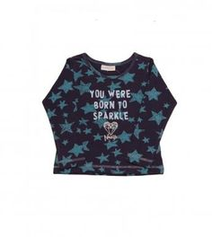 long sleeve top in star print with glitter graphic and finished with a naartjie label.