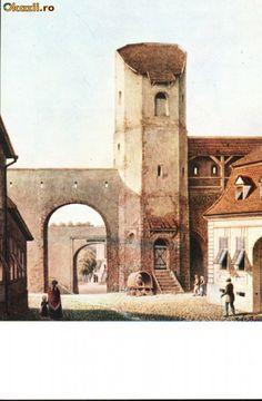 Carte postala ilustrata Poarta Lesurilor - Sibiu, dinspre oras foto mare Notre Dame, Building, Painting, Travel, Viajes, Buildings, Painting Art, Paintings, Trips