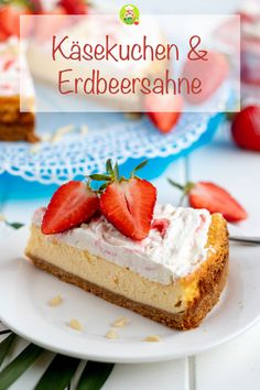 A recipe for a delicious cheesecake made from cream cheese and quark, a bottom made of biscuit crumbs and as a topping deliciously fruity strawberry cream. my room bake by meinestube_de Strawberry Cakes, Strawberries And Cream, How Sweet Eats, Biscuits, Sweet Tooth, Cheesecake, Candy, Snacks, Baking