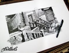 work from architectural pen drawing series  British architecture in shimla