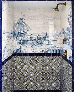 Greydon House, Nantucket Hotel designed by Roman and Williams in collaboration with architect Matthew MacEachern-Guest baths feature hand-painted scenic tile.