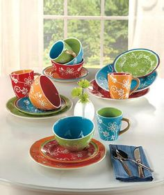 Colorsplash Dinnerware SET Summer Dishes, Kitchen Colors, Kitchen Stuff,  Kitchen Gadgets, Kitchen