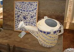 Unique mosaic chipped china watering cans