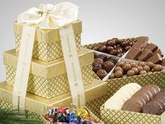 Sharing is nice, but it will be hard with this delicious combo! Includes Festive Cranberry Gold Trail Mix, Signature Truffles, Chocolate Pretzels, Chocolate Almonds, and Nut Mix.  low as $52.04 #PromotionalProducts #Custom #Chocolate #GiftSet