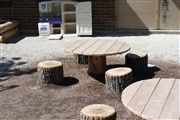 tree trunk tables and stools