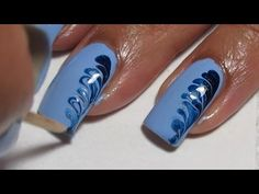 Simple Blue Drag Marble Nail Art Tutorial - YouTube