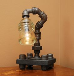Twisted Industrial Style Desk Lamp with Glass by TRoweDesigns, $100.00