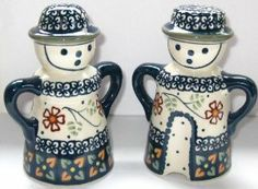 Large Polish Pottery Man Woman Gent Lady Salt and Pepper Shaker Set Signature IFZ Rustic Ivy Orange Rust by Manufaktura. $30.00. Large salt and pepper set made of durable stoneware. Perfect for stove top or counter. Beautiful Polish pottery pattern. Classic Polish pottery form - one gent and one lady. This large Polish pottery man and woman (Polish Gent and Lady) salt and pepper set is in a beautiful Manufaktura pattern.  This set would be charming on your counter, stove top or ...