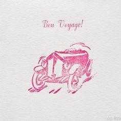 Quadro Karte 9.5 x 9.5 cm, gefaltet, mit Couvert, gedruckt ab Bleisatz und altem Buchdruck-Klischee auf 100 % Recycling-Papier. Bon Voyage, Craft Items, Printing, Cards