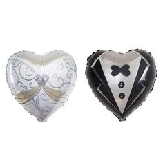 3 Embroidered Double White Heart Shaped Balloon Embellishments with Sequins