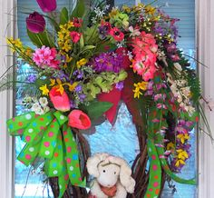 CLICK HERE TO SEE MORE BEAUTIFUL DESIGNS:  https://www.etsy.com/shop/PataylaFloralDesigns?ref=si_shop  HERE COMES PETER COTTON TAIL!  HOPPING DOWN THE BUNNY TRAIL!