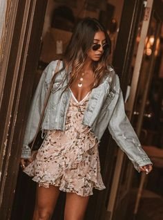 Summer outfits - bohemian dress and denim jacket freespirit gypsy bohostyle bohemianstyle boho goodvibes bohemianlife hippiechick gypsygirl hippie bohemianfashion boholife bohemianjewelry bohofashion Boho Outfits, Spring Outfits, Casual Outfits, Cute Outfits, Fashion Outfits, Womens Fashion, Fashion Trends, Spring Clothes, Casual Dresses