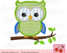 """Owl on a branch Machine Embroidery Applique Design -4x4 5x5 6x6"""""""
