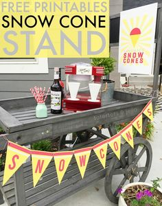 Snow Cone Stand – Free Printables from tatortotsandjellow.com Get the retro snow cone maker from Nostalgia Products (nostalgiaproducts.com)