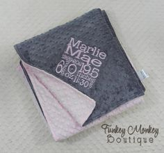 Minky Lovie Cuddle Blanket - Birth Announcement Stats - Your Custom Design 30 X 30, $44.00