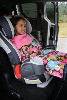 Car seat blanket - attaches to the bottom buckle. Annabel ALWAYS wants a blanket over her car seat.