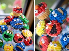 Elmo and friends cupcakes on tower
