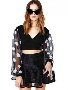 Short Style V Neck Long Sleeve Blouses For Women