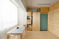 Birch Artist's Studio in Tel Aviv with Teal Fold-Down Bed, Remodelista