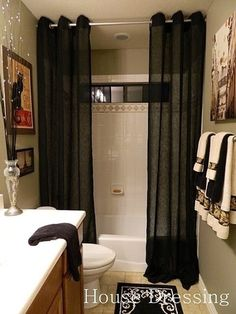 Simple, yet elegant. #ShopStyle #shopthelook # bathroom #elegant #homeDecor Guest Bath, Baden, Flooring, Home Remodeling, Home Projects, House Design, Floor Design, Diy Home Decor, Long Curtains