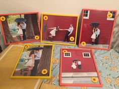 Sunflower and coral picture frames for engagement photos