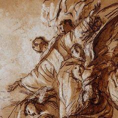 Massimo Stanzione, «Saint Bruno porté au ciel». Dessin préparatoire pour la fresque de la coupole d'une chapelle napolitaine décorée dans les années 1630.