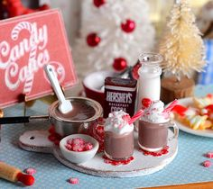 Miniature Christmas Hot Cocoa Set by CuteinMiniature on Etsy