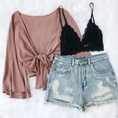NEW ✨ Sofia Tie Top & Nicolette Shorts. Teen Fashion Outfits, Mode Outfits, Look Fashion, Outfits For Teens, Korean Fashion, Hipster Fashion, Fashion Tips, Cute Summer Outfits, Cute Casual Outfits