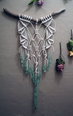 Dip Dyed Teal Macramé Wall Hanging. You can get your modern home, too. Change your bedroom, paint your kitchen walls, decorate your bathroom... See more home design ideas at http://www.homedesignideas.eu/ #contemporary #interiordesign