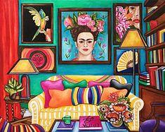 saji art: Frida Kahlo de Rivera was a Mexican artist who p. Canvas Art Prints, Framed Art Prints, Fine Art Prints, Gustav Klimt, Kahlo Paintings, Oil Paintings, Frida And Diego, Frida Art, Mexico Art