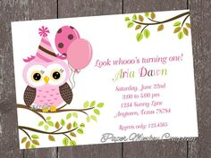 pink owl birthday invitations with free matching return address labels by 100