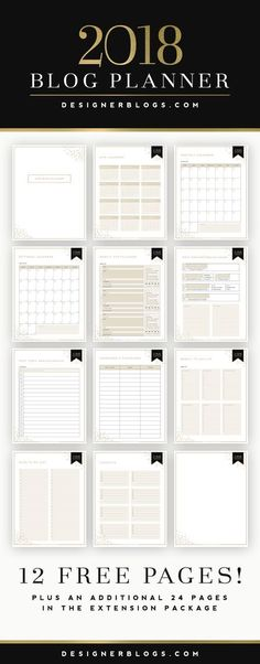 2018 Ultimate Blog Planner | Blog Organization | Blog Planner Printable | Free Blog Planner | Social Media Planner | To-Do List Printable | Blog Stats & Analytics Printable | Blogging Goals Printable | Email Campaign Printable | Finance Tracker Printable | Affiliate Program Printable | DesignerBlogs.com