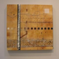 Lorraine Glessner - Down Sixth Street - encaustic, horse and human hair, mixed media on silk and wood.