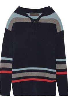 The Elder Statesman - Heavy Hockey Hooded Striped Cashmere Sweater - Navy - x small