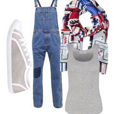 Ancora caldo si prevede per il mese di settembre. Indossa salopette di jeans comoda in promo, canotta gligia in promo. Abbina il foulard per proteggerti dal vento e le scarpe in tinta, grigie in promo.