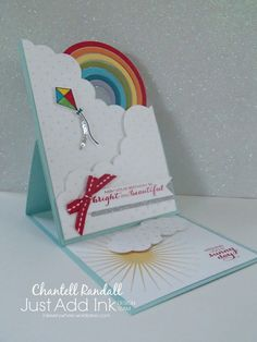 easel card using Stampin Up Sunshine and Rainbows Stamp Set and Rainbow Builder Framelits Dies. 2018 Occasions Catalogue Card by Chantell Easel Cards, 3d Cards, Pop Up Cards, Folded Cards, Cute Cards, Stampin Up Cards, Zealand Tattoo, Rainbow Card, Kids Birthday Cards