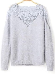 Blue Contrast Lace Long Sleeve Mohair Sweater 23.33