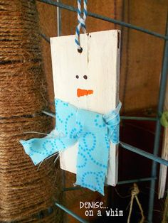 It's easy to make darling snowmen ornaments from slices of 2x4 boards! | Denise... On a Whim