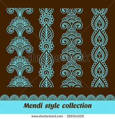 Ornamental seamless borders Vector set with abstract floral elements in indian style Mendi collection Mandala Doodle, Doodle Art, Mehndi Art, Henna Art, Henna Patterns, Embroidery Patterns, Pattern Art, Pattern Design, Indian Henna Designs