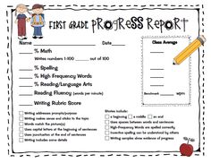 First Grade Progress Report Fill In Generic