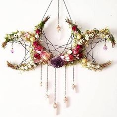 Pagan crafts - Flower crystal crescent moon dream catcher inspired hanging decoration > boho nature decor for the home Boho Dekor, Witch Decor, Pagan Decor, Spiritual Decor, Pagan Altar, Arts And Crafts, Diy Crafts, Moon Crafts, Bible Crafts