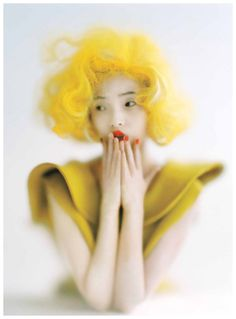 from obscure to demure, Xiao Wen Ju by Tim Walker for Vogue US September. I love this image.I hate the color yellow, but I am so stunned by the beauty of contrast in this photo. Foto Fashion, Fashion Art, Fashion Images, Fashion Poses, Vogue Fashion, Punk Fashion, Fashion History, Fashion Editorials, Trendy Fashion